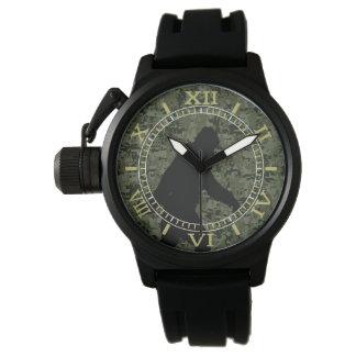 Black Gone Squatchin Woodland Camouflage Dial Wrist Watch