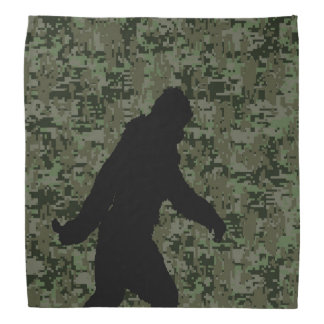 Black Gone Squatchin Woodland Digital Camouflage Bandana