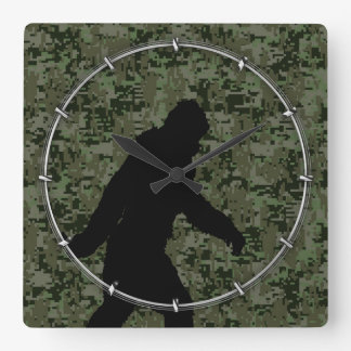 Black Gone Squatchin Woodland Digital Camouflage Square Wall Clock