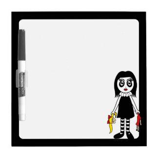 Black Goth Girl With Broken Doll Dry-Erase Board