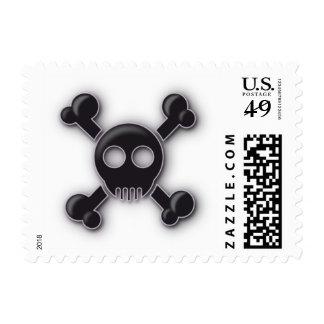 Black Goth Kitsch Skull & Crossbones Stamp