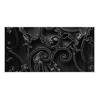 Black gothic baroque swirl pattern card