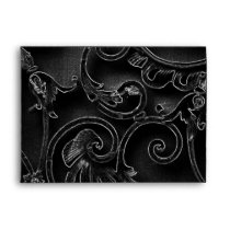 Black gothic baroque swirl pattern envelope