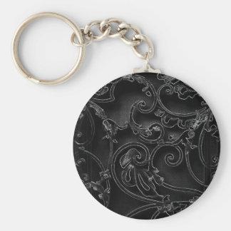 Black gothic baroque swirl pattern keychain