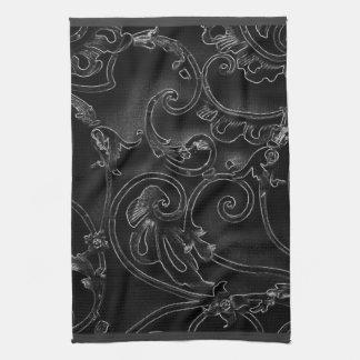 Black gothic baroque swirl pattern towel