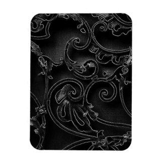 Black gothic baroque swirl pattern magnet
