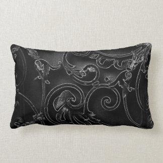 Black gothic baroque swirl pattern pillow