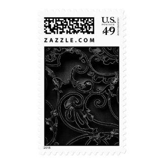 Black gothic baroque swirl pattern stamps