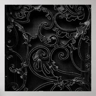 Black gothic baroque swirl pattern print