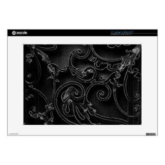 Black gothic baroque swirl pattern laptop skin