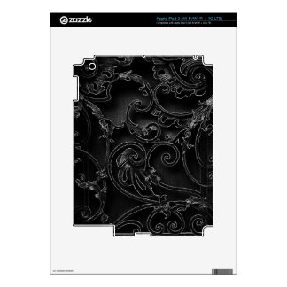Black gothic baroque swirl pattern skin for iPad 3