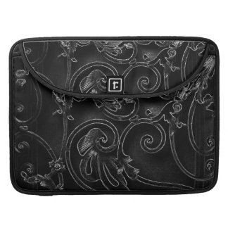 Black gothic baroque swirl pattern sleeve for MacBooks