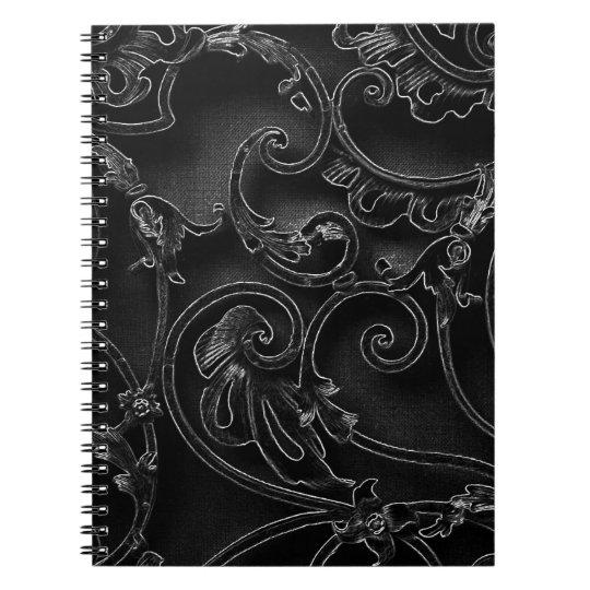 Black gothic baroque swirl pattern spiral notebook