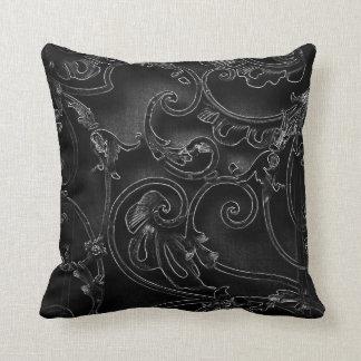 Black gothic baroque swirl pattern throw pillow