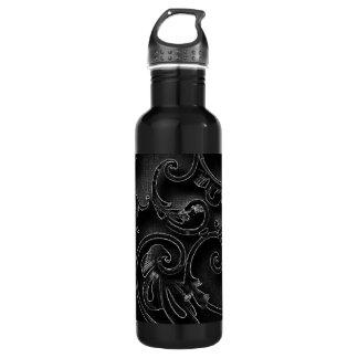 Black gothic baroque swirl pattern water bottle