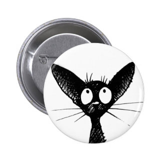 black gothic cat button badge