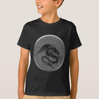 Black Gothic Dragon Silver Coin T-Shirt
