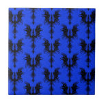 Black Gothic Dragons on Blue Pattern Ceramic Tiles