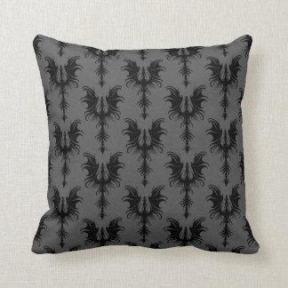 Black Gothic Dragons on Grey Pattern Throw Pillows