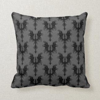 Black Gothic Dragons on Grey Pattern Throw Pillow