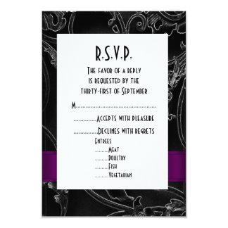 Black gothic formal wedding R.S.V.P 3.5x5 Paper Invitation Card