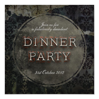 Black Gothic Grunge Dinner Party Invitation