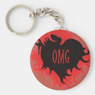 black Gothic heart OMG Keychain