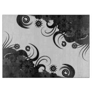 Black Gothic Hibiscus Floral Glass Cutting Board