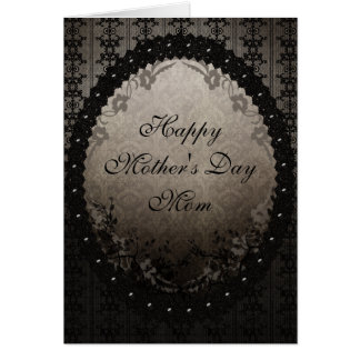 Black Gothic Lace & Damask Mother's Day Card