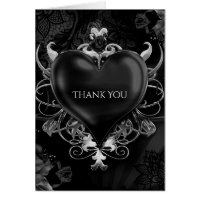 Black Gothic Love Heart Wedding Thank You