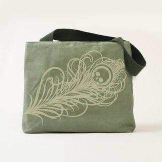 Black Gothic Peacock Feather Tote