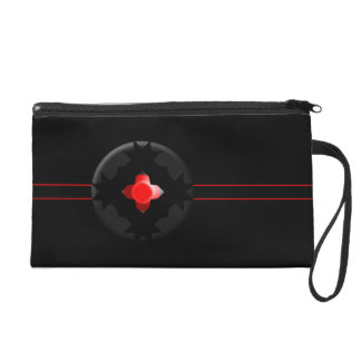 Black Gothic Red Jewel Bagettes Wristlet Bag