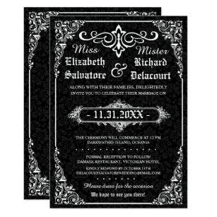 Damask wedding invitations zazzle black gothic victorian damask wedding invites filmwisefo