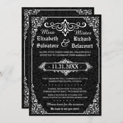 Black Gothic Victorian Damask Wedding Invites
