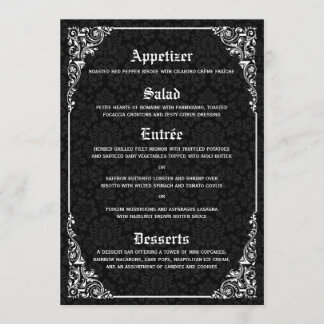 Black Gothic Victorian Damask Wedding Menus