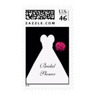Black Gown and Roses Bridal Shower Postage