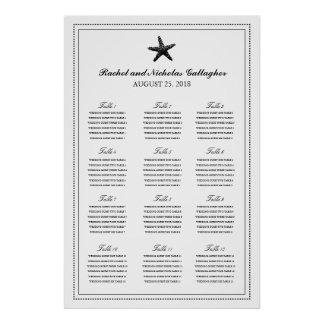 Black Graceful Starfish 24 x 36 Seating Chart