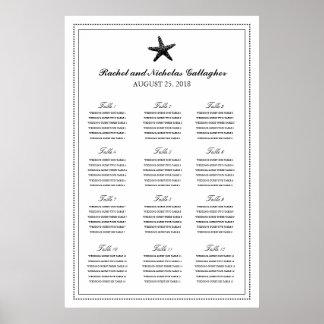 Black Graceful Starfish 24 x 36 Seating Chart Poster