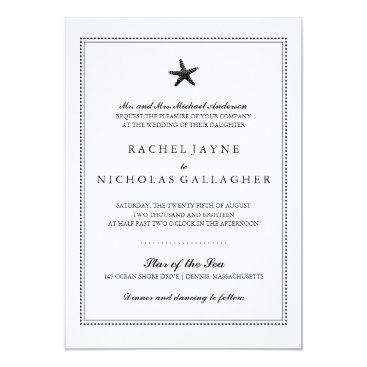 Beach Themed Black Graceful Starfish   Wedding Card