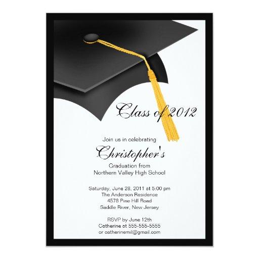 "Black Grad Cap Graduation Party Invitation 5"" X 7"" Invitation Card"