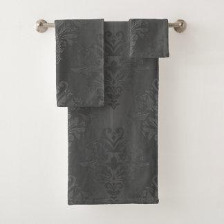 Black Gradient Floral Damask Print Towlet Set