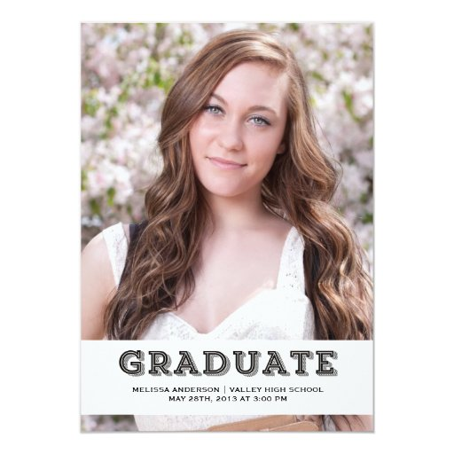 Black Graduate Senior Portrait 5x7 Paper Invitation Card