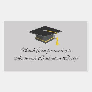 Black Graduation Cap Thank You Rectangle Sticker