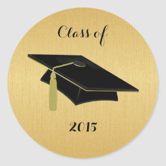 Black Graduation Cap With Gold Classic Round Sticker