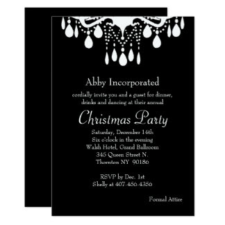 Black Grand Ballroom Christmas Party Invitation