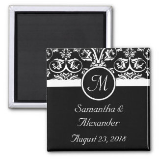 Black Grand Insignia Monogram Favor /Save the Date Refrigerator Magnets