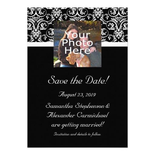 Black Grand Insignia Monogram Photo Save the Date Personalized Invitation