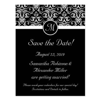 Black Grand Insignia Monogram Save the Date Post Cards