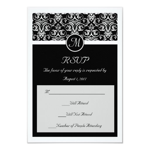 Black Grand Insignia Wedding Matching Small RSVP Card