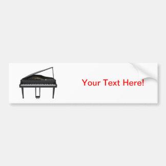 Black Grand Piano: 3D Model: Car Bumper Sticker